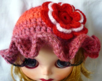 NEW Blythe Summer  Knit Hat with Flower