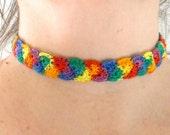 Retro 70, Crochet Choker, Trendy, Custom Made, Funky ,Crochet Necklace, Funky Jewelry