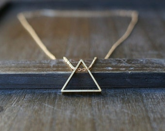 Triangle Necklace / Upright Triangle Pendant on a Gold Filled Chain ... Modern Geometric Jewelry