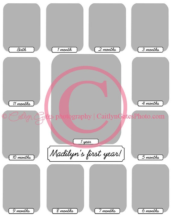 items similar to 16x20 baby 39 s first year collage template on etsy. Black Bedroom Furniture Sets. Home Design Ideas