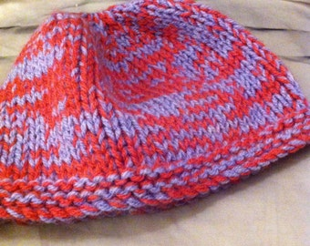 Kid's pink and blue wooly hat