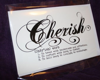 "Large Landscape ""Cherish"" definition card"
