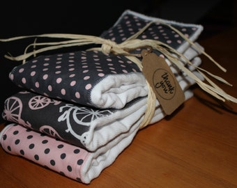 Cloth Diaper Burp Cloth - Set of 3 - Michael Miller - It's A Girl Thing - Pink/Grey