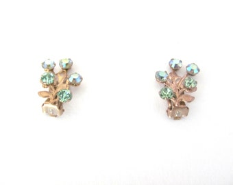 Vintage Green Earrings, 1960's Green Rhinestone Earrings, Clip On Earrings