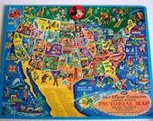 Walt Disney Character USA Pictorial Map Inlaid Puzzle, Vintage, 1960s, Jaymar Specialty Co, Mickey Mouse, Donald Duck, Tinkerbell