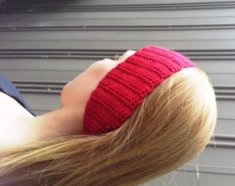 Crochet headband, women's red hairband. Red wool hair and ear warmer.