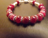 Genuine Ruby Gemstone and Sterling Silver Bracelet