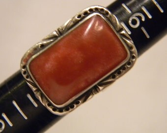 Elegant Fashion Fun 925 Sterling Silver Glittery Dark Peach Colored Rectangle Ring Size 7.5 Or Bigger, Expandable #4046