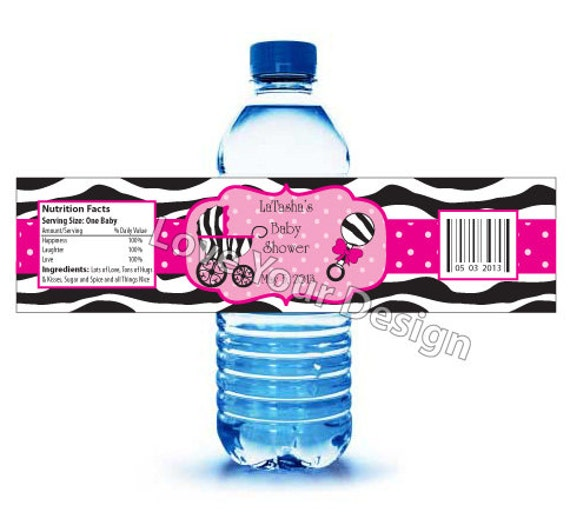 Items similar to Zebra Water Bottle Labels for Baby Shower or ...