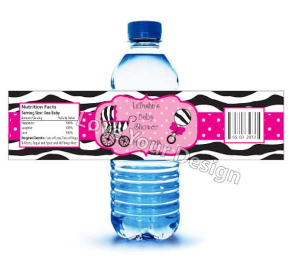 zebra water bottle labels for baby shower or zebra water label for