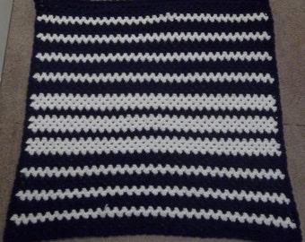 Navy Blue and White Blanket