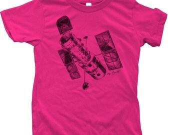 Children T shirt Hubble Space Telescope Hand Screen Printed  American Apparel Short Sleeve Crew Neck