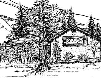 Garage Ink Art Print, Garage, Street Scene, Power Post, Treeline, Wall Art, Gift Idea, Ink Pen,Illustration Drawing  5 x 7, Black