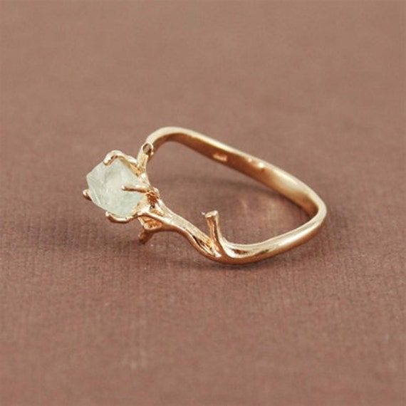 Save on this Set- Unique Branch and Natural Green Amethyst Ring and Branch Necklace, branch ring, nature, rose gold, unique, rough cut, raw