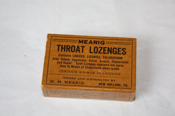 Vintage Mearig Throat Lozenges Box, New Holland, PA  - Excellent condition