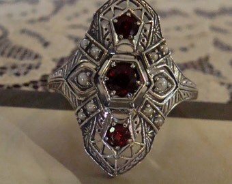 Art Deco design Sterling Silver Garnet & Seed Pearl  Ring  Size 6.75