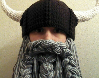 Gray Beard. Viking or Dwarven Hat With Horns and Beard.