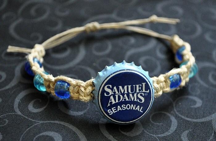 Sam adams beer recycled bottle cap hemp bracelet men 39 s for Beer cap jewelry