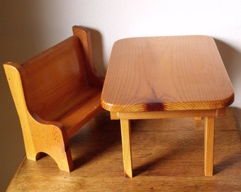 Doll-Size Furniture for Bears or Dolls ~ Doll Collection Staging ~ Solid Wood Cabin Furniture for Dolls