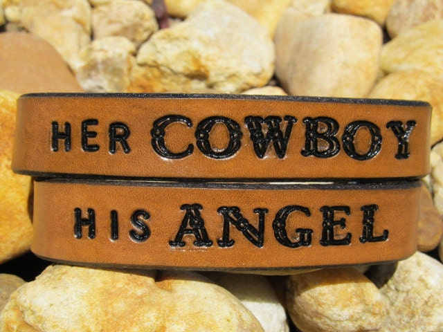 Her Cowboy His Angel His Hers Hand Tooled Leather Bracelet