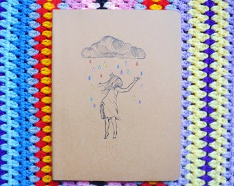 "Original Hand Drawn ""Rainbow Rain"" Moleskine 19 x 25 cm"