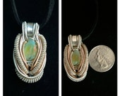 Ethiopian opal wire wrapped pendant with sterling silver and 14k gold filled wire(on sale)
