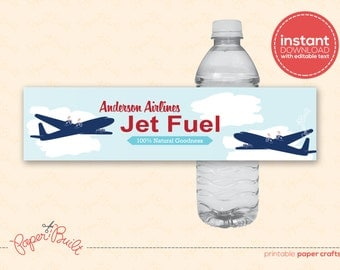 INSTANT DOWNLOAD - Printable Airplane Birthday Party Water Bottle Label from the All-American Airplane Party Collection by Paper Built