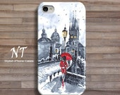 iPhone 6 4 4s 5 5s 5C Case - Cell Phone Cover - Watercolor Painting Red Drop- Black White Umrella Prague Hard Case - Natalia Turea Art