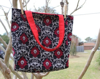 Reversible Tote Bag Black, White and Red Damask with Red Lining & Straps