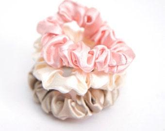 12pcs of Color Satin Scrunchies ponytail holders hair accessories Wholesale Lots Ties DIY Annielov - Pink, Ivory, Beige, Mint, Brown, Black