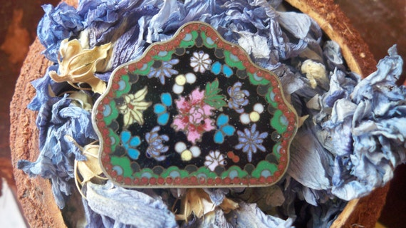 Buckle Antique Art nouveau Floral Micro Mosaic Sterling Silver French from 1900's Backside Enameled- Black and Multicolored- Jewelry Buckle