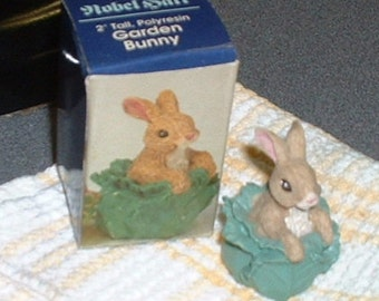 Miniature Nobel Hall Easter Bunny Rabbit in Cabbage Figurine with original box