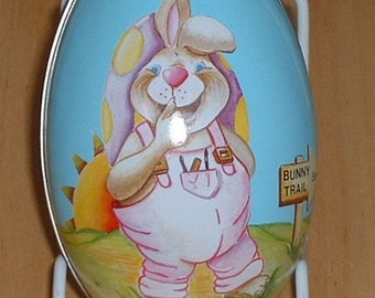 "Easter Egg Metal Tin Bunny Rabbit 5"" long 1980's"