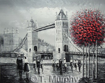 Tower Bridge London, Hand painted Oil on Canvas Painting