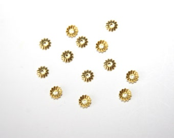 25 PCs 6mm golden color bead caps PK 28
