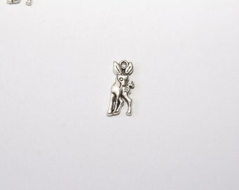 10 Pcs. charms/  metal pendants deer / fawn  /20x23mm / antique silver tone  A130