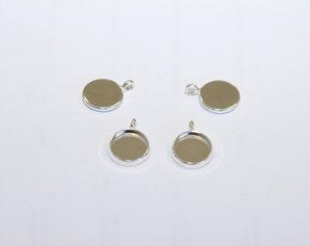 10 Pcs. bezels / round settings / pendant trays silver tone /  10mm FAS003-10