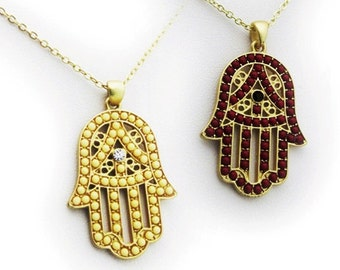 Hamsa necklace (available in turquoise, coral and red)