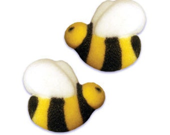 30 Bumble Honey Bee Edible Molded Sugar Cake / Cupcake Topper Decorations Birthdays, Baby Showers, Parties
