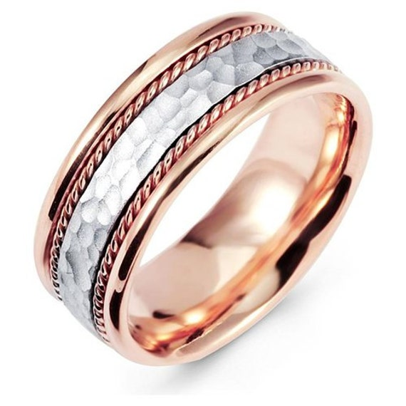Mens 14K White And Rose Gold Handmade Wedding By TallieJewelry