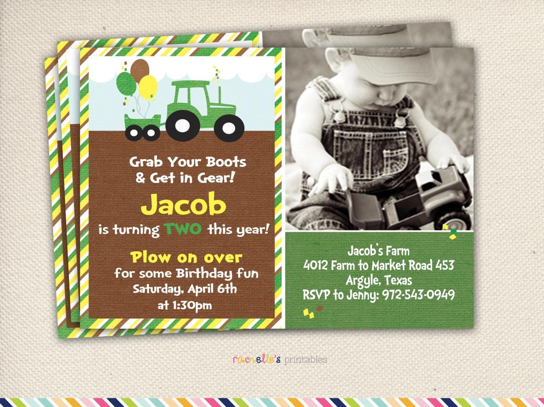 Green tractor birthday party invite adamantium green filmwisefo
