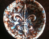 Fleur de Lis mocha and blue handmade Pottery Bowl
