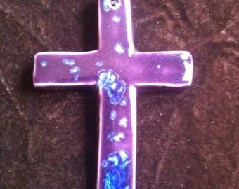 Cross royal purple and blue handmade Pottery Ornament