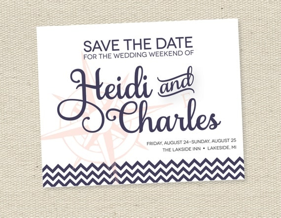Items similar to print your own nautical save the date cards wedding invitations diy for Printable save the date cards