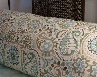 Aqua, soft green & blue pillow cover in Paisley Prism by Waverly