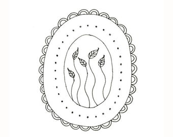 Embroidery Pattern Leaves Vines Dots Scallops Digital Downloadable PDF 0012