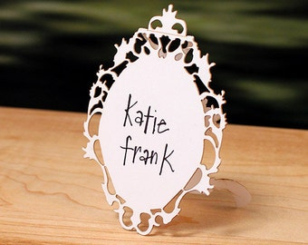 Laser Cut Small Oval Baroque Frame Folded Place Card - 12 PIECE SETS