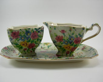 Vintage Royal Winton Grimwades, English Chintz Queen Anne Sugar Creamer and Tray Set Art Deco 1930's Antique Rare Chintz Queen Anne Pattern