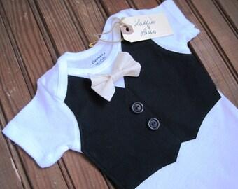 Black Vest Onesie with Cream Bow Tie, Vest Onesie, Bow Tie Onesie, Bow Tie Onesie, Baby Boy Wedding, Baby Vest, Red Baby Bow Tie