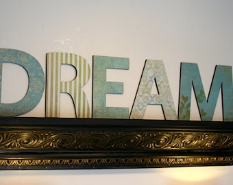 DREAM letters home decor, Wall letters, Housewarming gift, Shabby chic decor